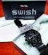 Juodas, ryškus puoškus SWISH laikrodukas firminėje dėžutėje